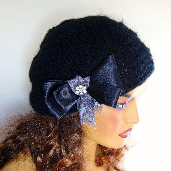 Hand Crochet Black Unique Beanie Hat Winter Accessories by Pasin