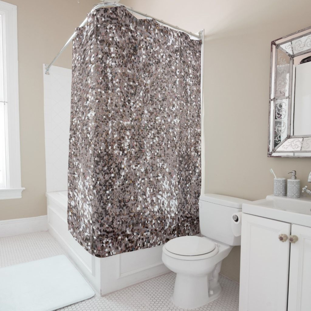 Faux Chunky Silver And Brown Glitter Pattern Shower Curtain In