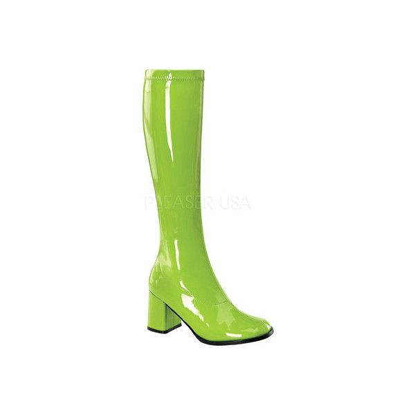 Women's Funtasma Gogo 300 (€38) ❤ liked on Polyvore featuring shoes, boots, casual, casual shoes, green, stretch boots, stretching patent leather shoes, green boots, patent leather boots and patent leather shoes