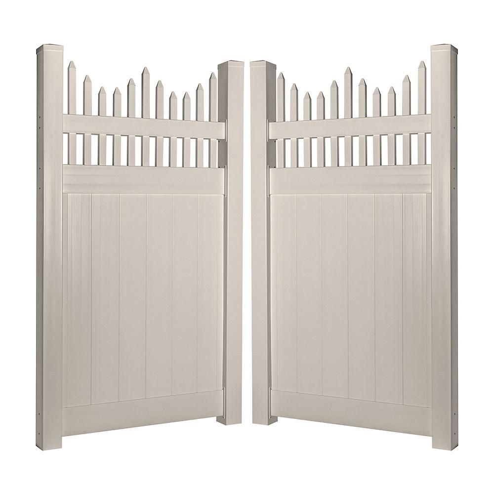 Weatherables Louisville 3 7 Ft W X 7 Ft H White Vinyl Privacy Fence Gate Kit Swpr Ots2 7x44 5 The Home Depot Mode In 2020 Vinyl Privacy Fence Gate Kit Fence Gate
