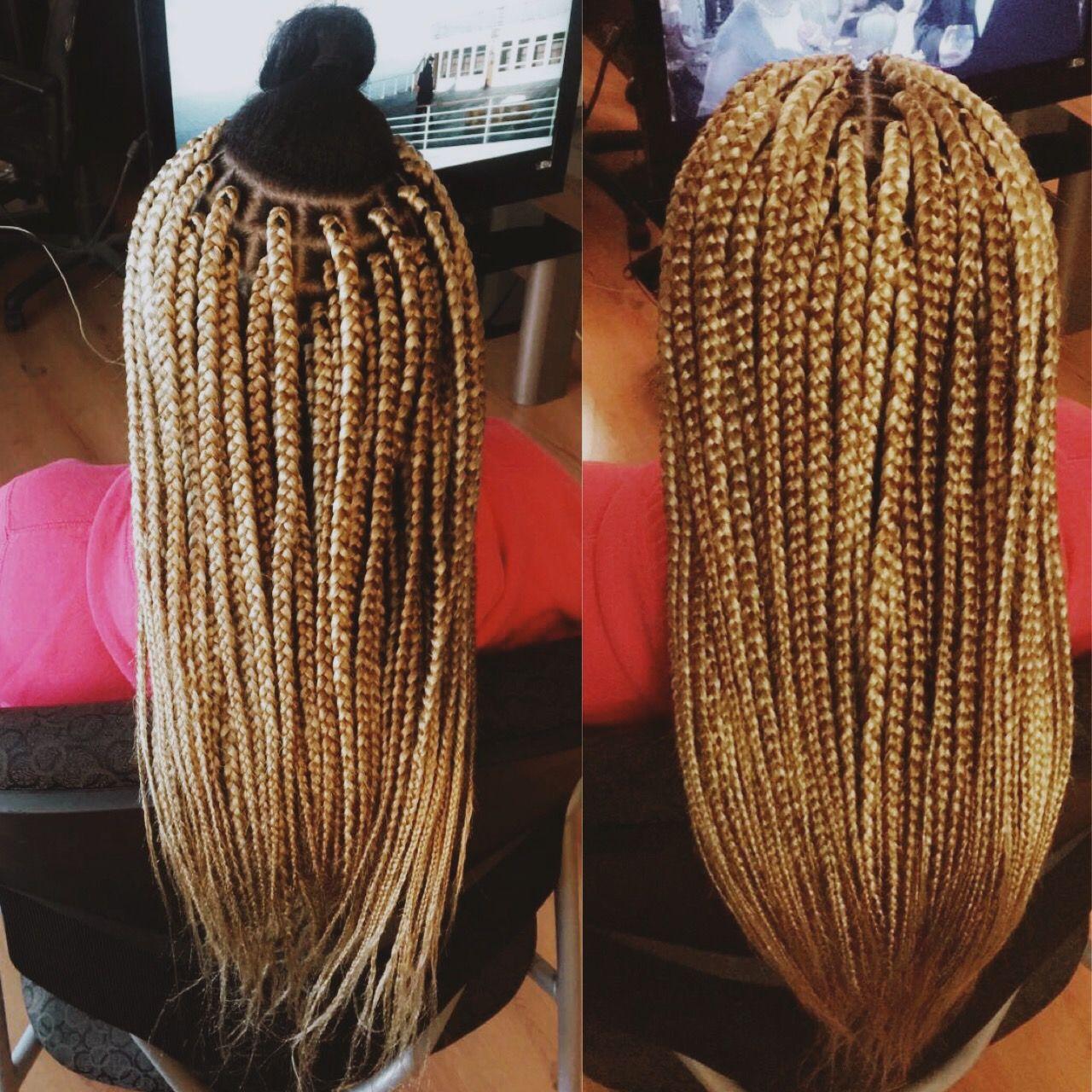 Medium Size Mid Back Blonde Mix Box Braids Box Braids