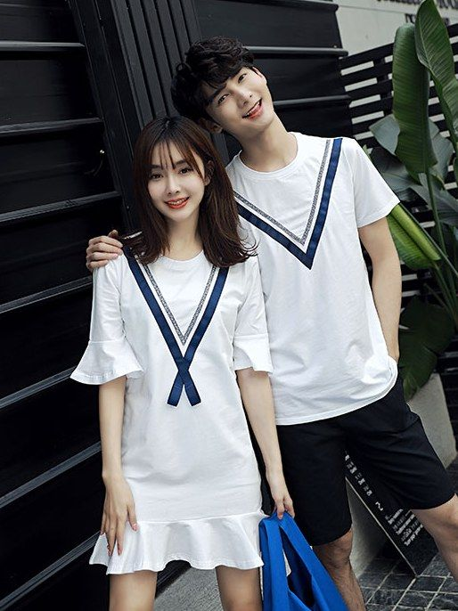9b3d06c1 School Style Fashional Couple T-shirt_Couples shirts_WHOLESALE  CLOTHING_Wholesale clothing, Wholesale Clothes Online From China