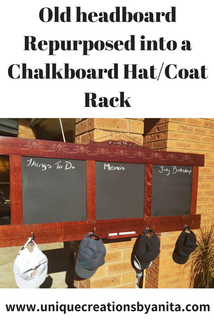 Old headboard repurposed into a chalkboard hatcoat rack
