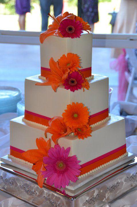 Our Cake Wedding Orange Pink 283929 260845117264323 100000165100415 1299627 3276595 N