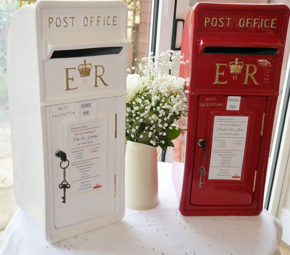 Royal Mail post box in red or white, for cards, wedding, HIRE ONLY ...