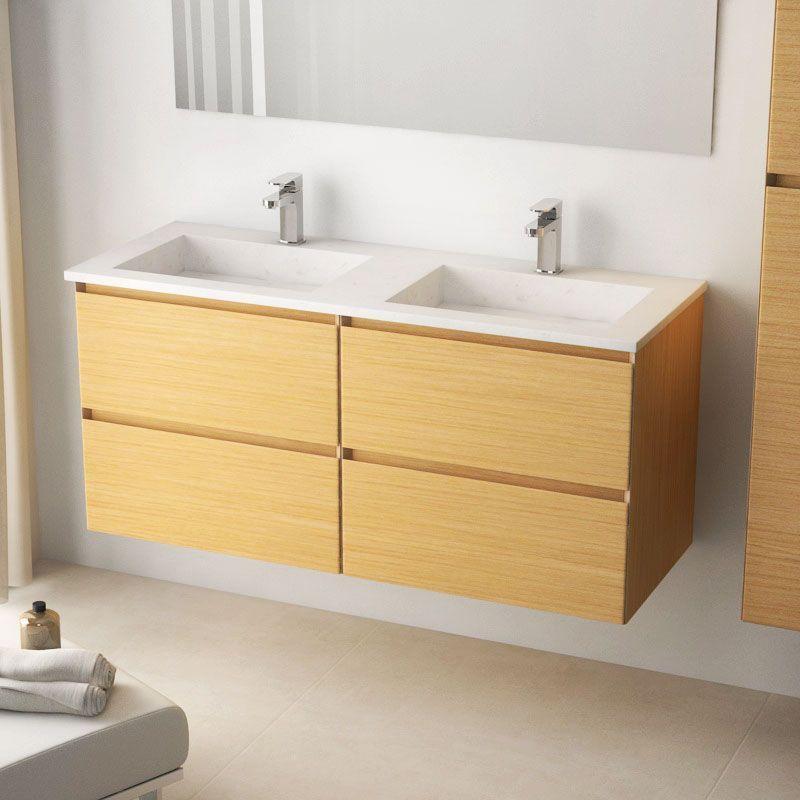 Cordoue, Meuble salle de bain chêne clair 121 cm, double vasque - meuble salle de bain en chene massif