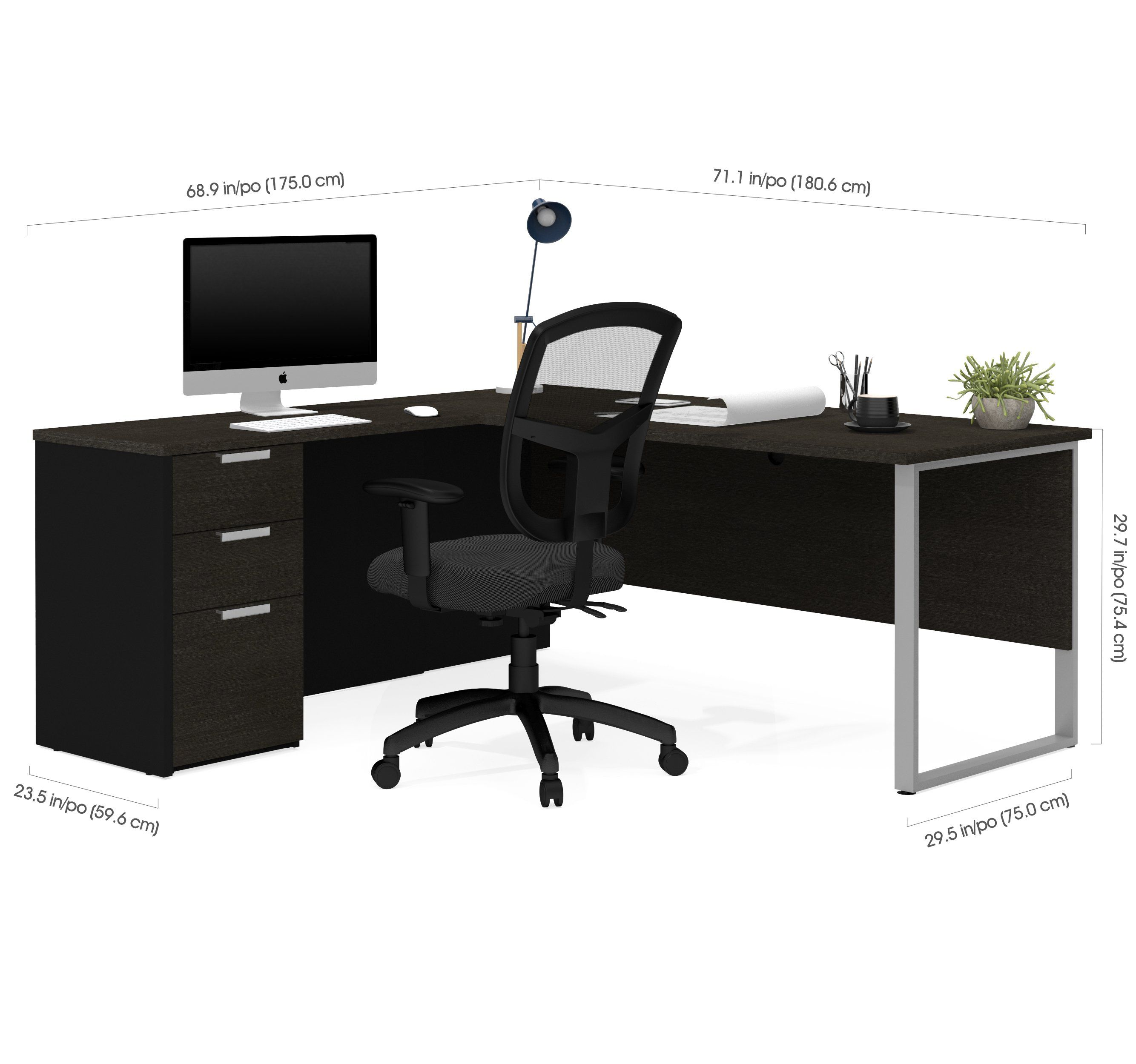 Deep Gray Black L Shaped Single Pedestal Modern Desk In 2020
