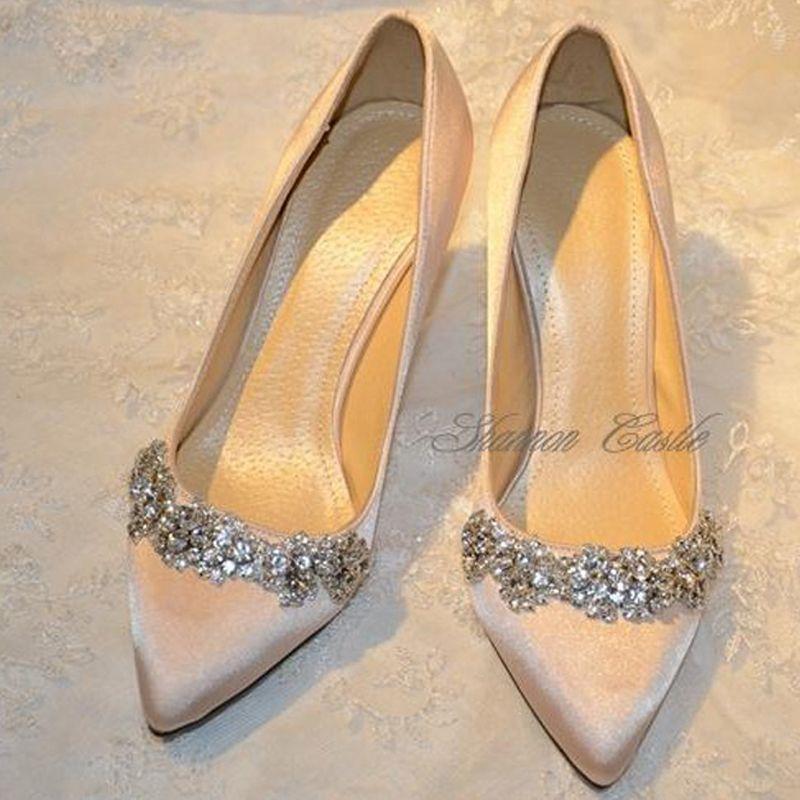 white flat wedding shoes with rhinestones