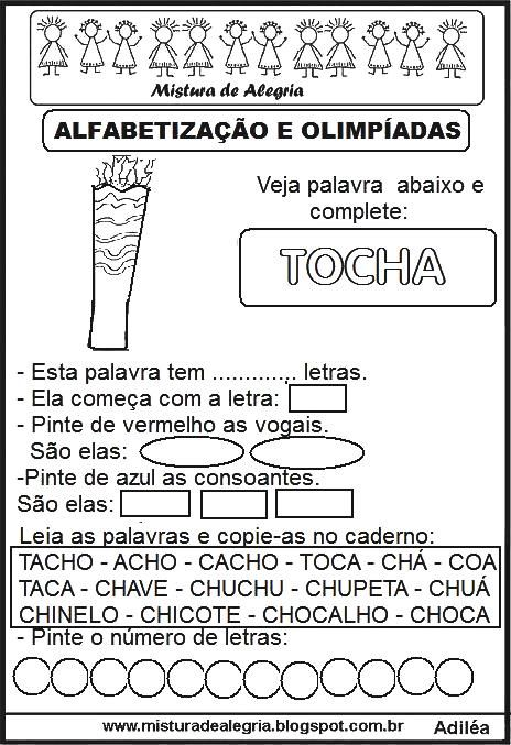 Atividades Olimpiadas 2016 Alfabetizacao Tocha Imprimir Colorir