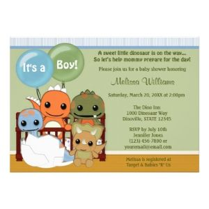 Dinosaur theme baby boy shower invitation wording Its a Boy A