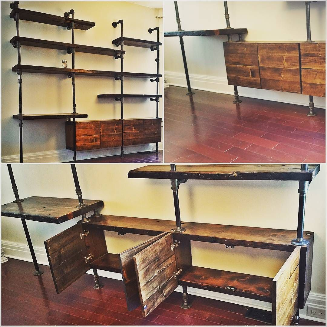 Industrial Wall Shelving Units Pipe Shelf Wall Unit With Storage Cubbies Studio Indus