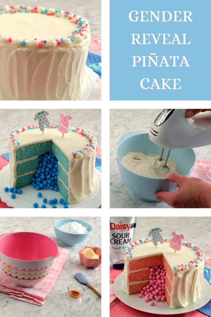 Gender Reveal Cake Daisy Sour Cream Sweet Cakes Gender Reveal Cake