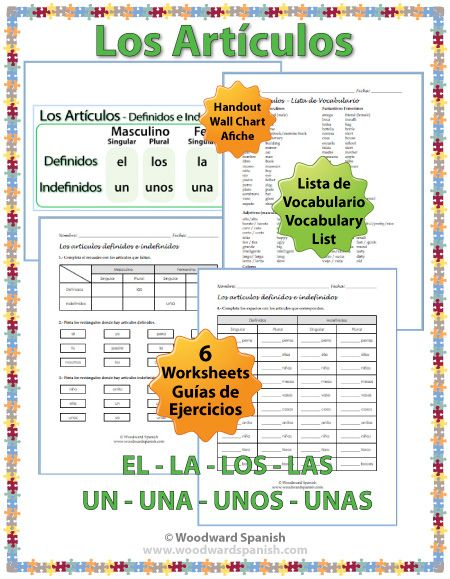 Spanish Articles Worksheets Definite And Indefinite Bilingual