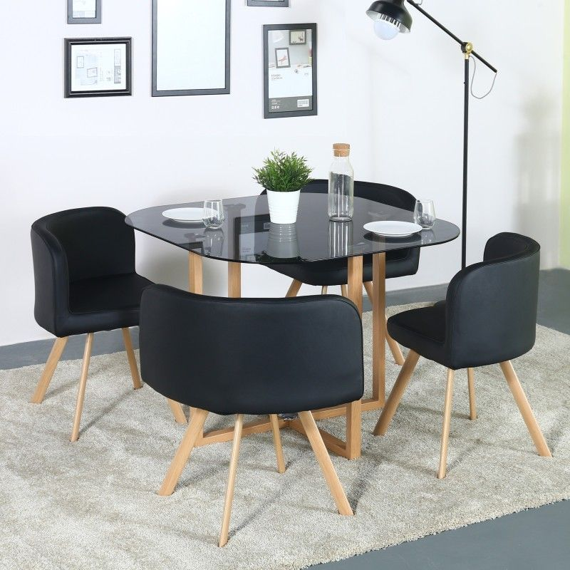 Perfect Homes Atiu Glass 4 Seater Dining Set (Finish Color