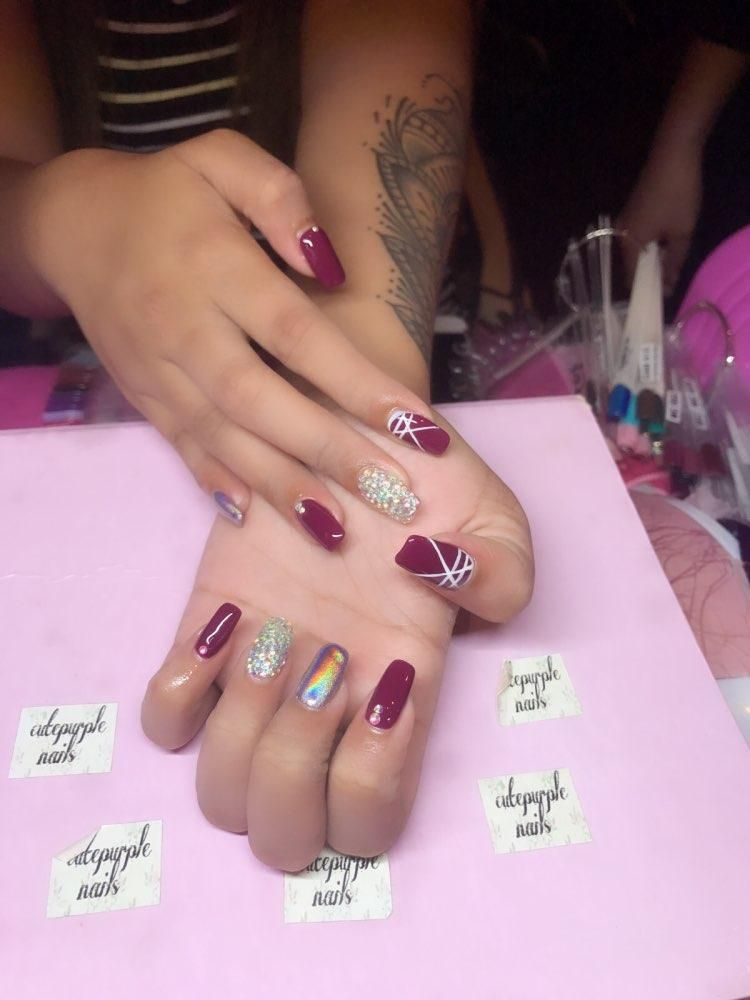 Laser Nail Glitters Acrylic Nail Coffin Nail Design For Fall Summer