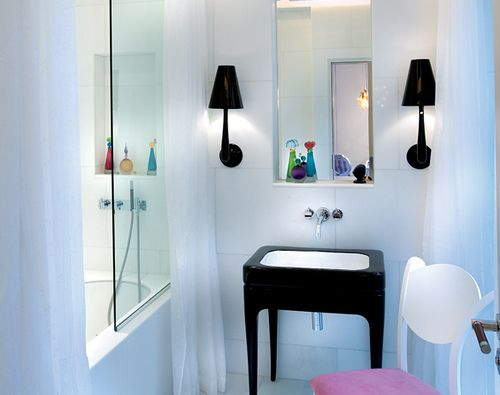 Quirky Bathroom Lighting blue bathroom. amazing sink and lamps.. | dream homes&interiors