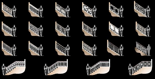 Best Handrails Modern And Classic Free Dwg Blocks This Free Dwg 400 x 300