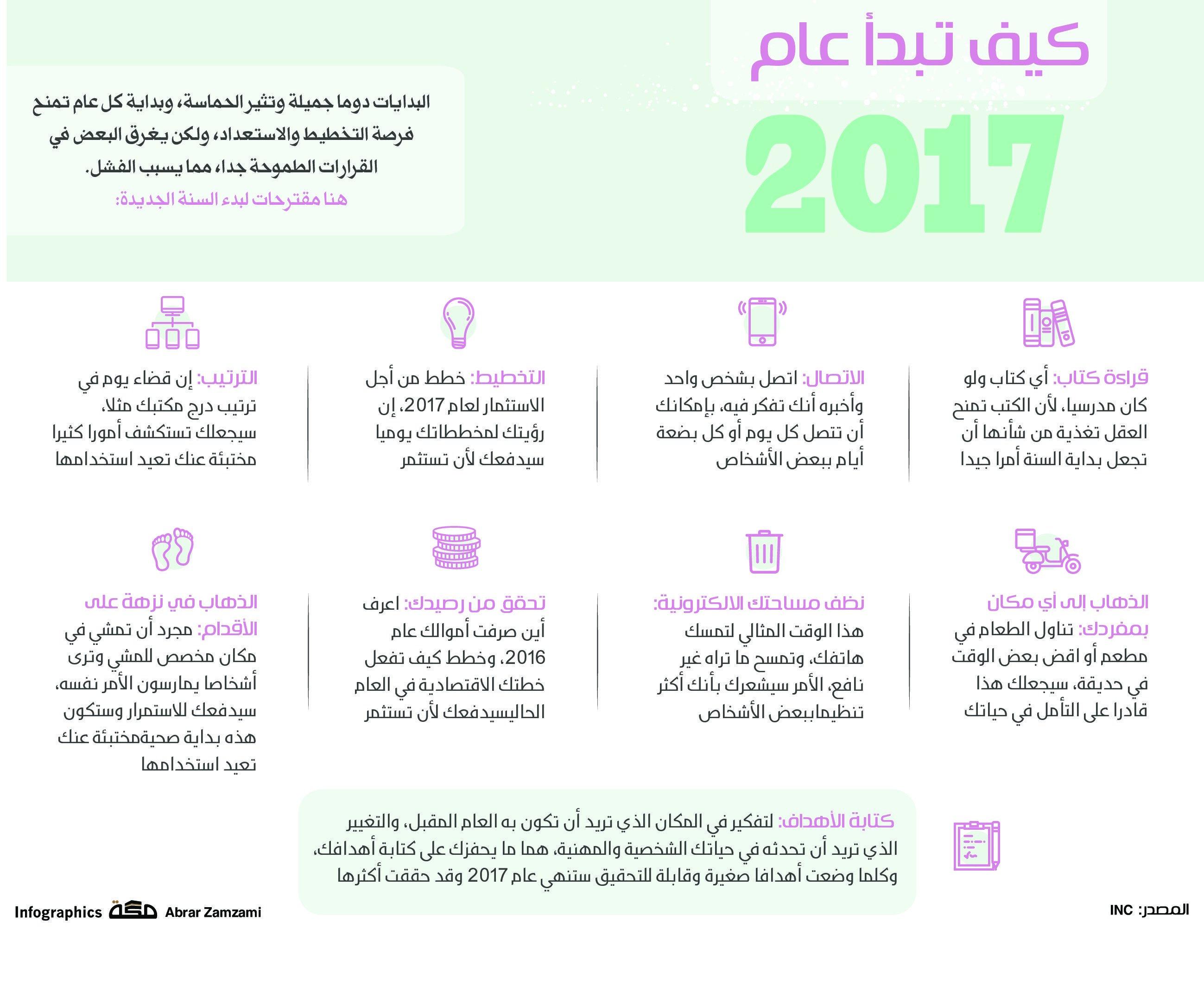 كيف تبدأ عام 2017 صحيفة مكة انفوجرافيك منوعات Infographic Jail Izu