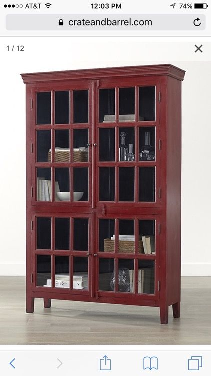 Tall Red Rojo Crate Barrel Cabinet Tall Cabinet Storage
