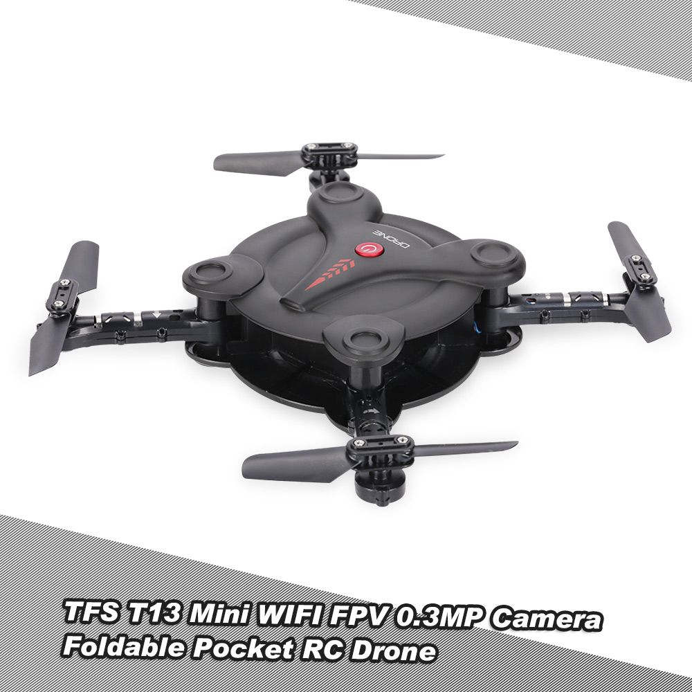 Only US$32.99,TFS T13 6-Axis Gyro Mini Wifi FPV Foldable G-sensor Pocket Drone with 0.3MP Camera Altitude Hold RC Quadcopter - RcMoment.com