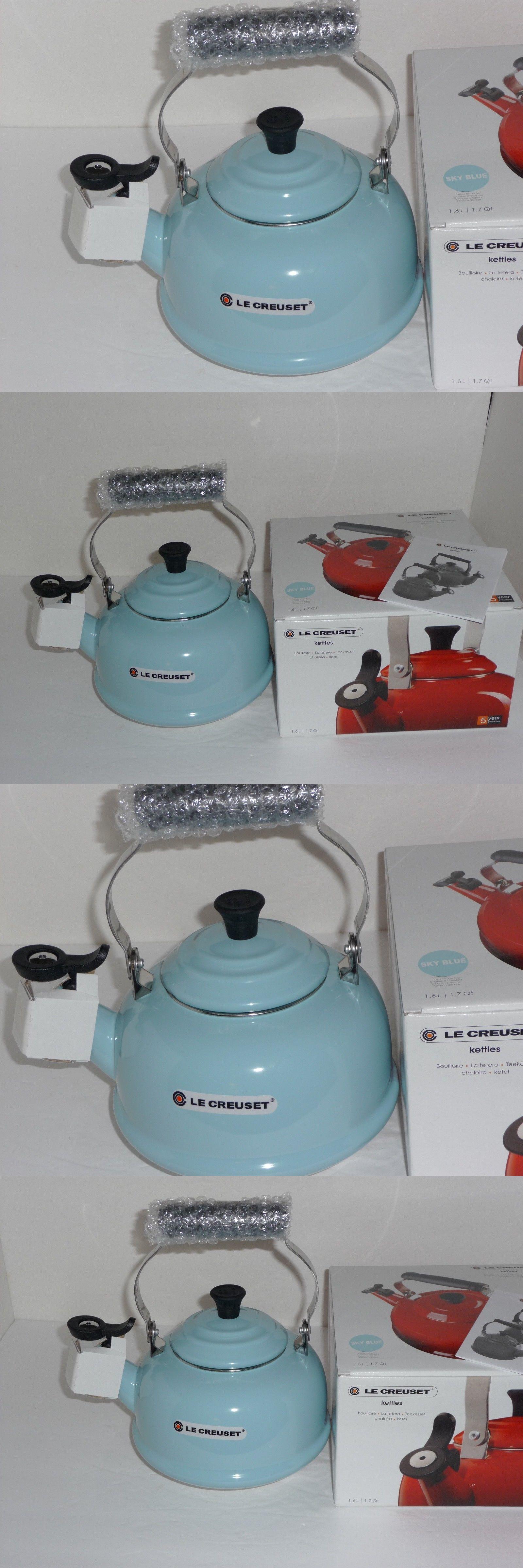Le Creuset 1 7 Qt Tea Kettle Teakettle Whistling Light Blue New In Box Tea Kettle Creuset Kettle