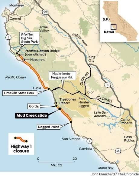 Big Sur Highway Closure Map Zee Pinterest Big Sur Highway 1