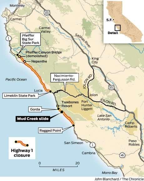 Big Sur Highway Closure Map USA Pinterest Highway closures