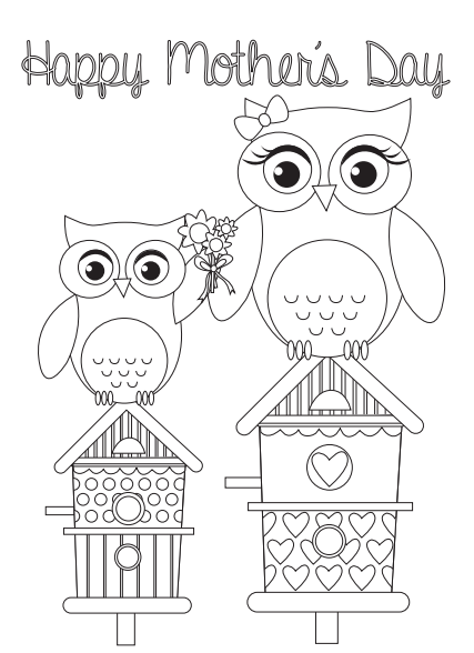 Colouring Printables Mothers Day Card Templates