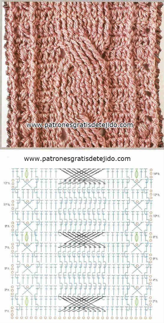 Encantador Crochet Patrón De Punto Trenzado Regalo - Manta de Tejer ...
