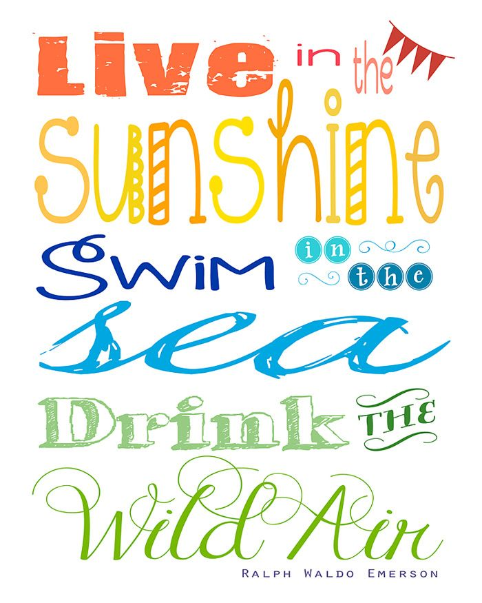 Free Printable Live In The Sunshine Summertime Quote By Ralph
