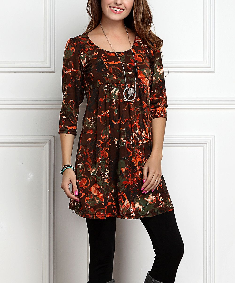 Red floral empirewaist tunic dress plus too products