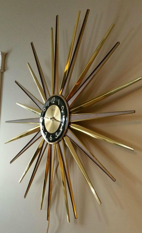 Vintage Ingraham Electric Starburst Wall Clock Mid Century Modern