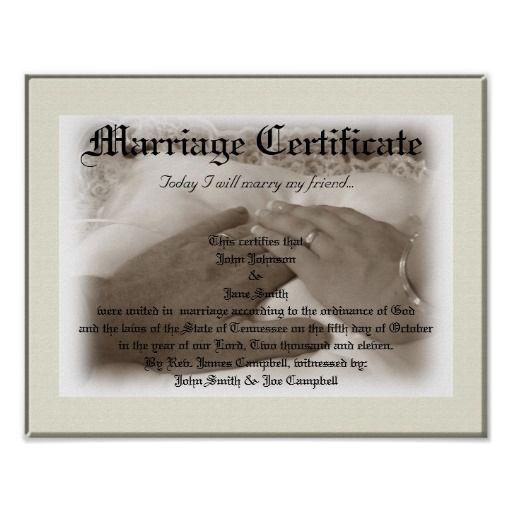 Heirloom Marriage Certificate Poster