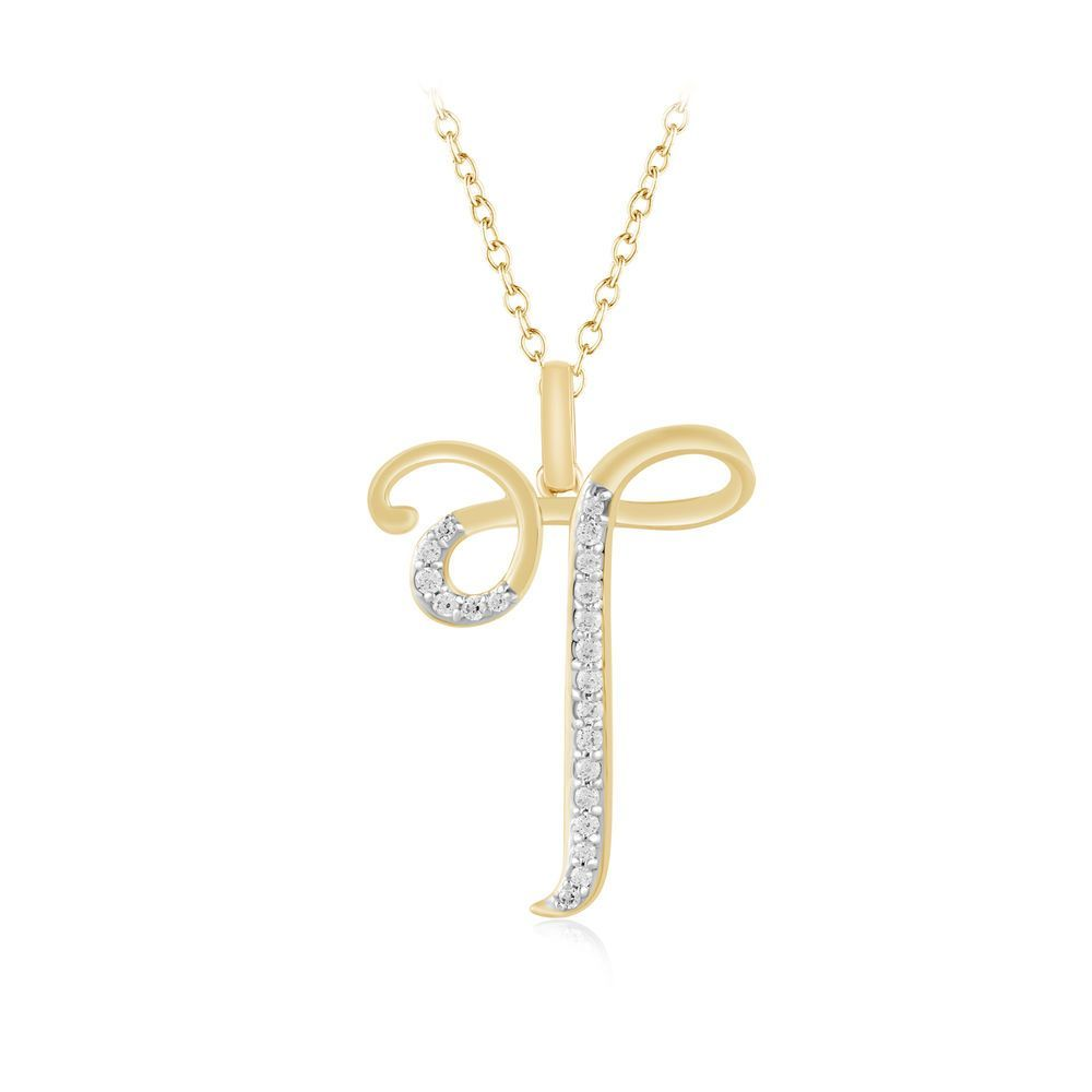 with t yellow pendant charm necklace chain itm letter diamond initial gold