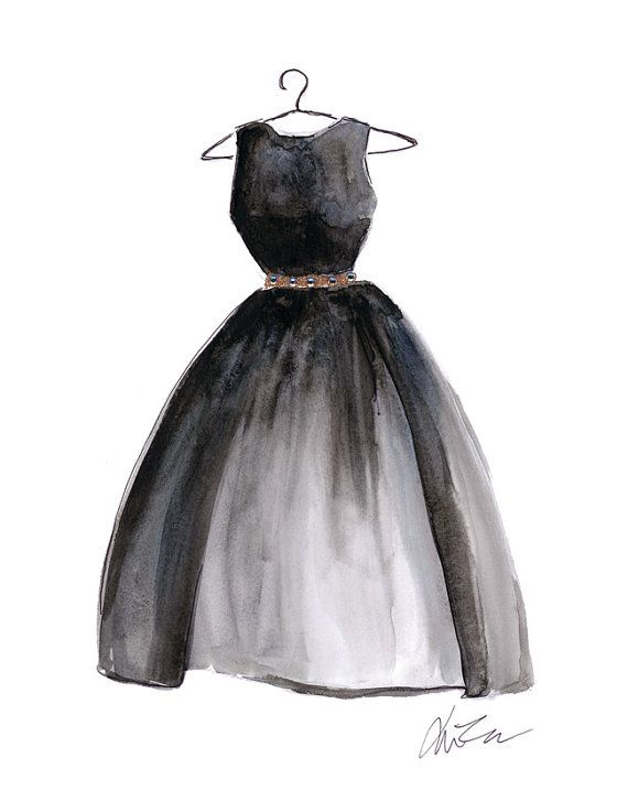 pioneer woman clothing drawing. lbd little black dress - watercolor fashion hanger illustration print pioneer woman clothing drawing