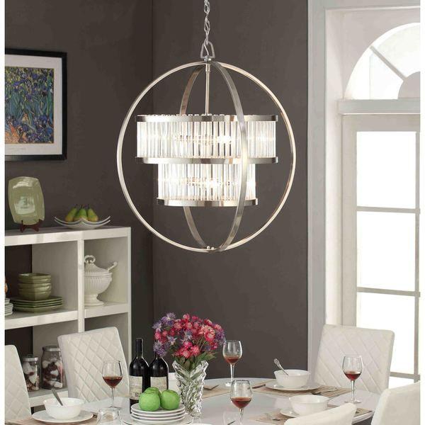 Nickel Dining Room Chandeliers: Brushed Nickel Crystal Orb 6-Light Chandelier