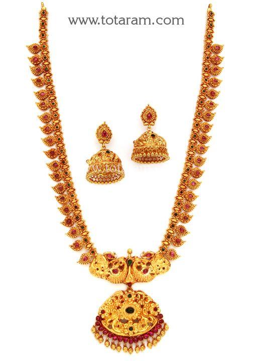 22K Gold Lakshmi Long Necklace Earrings Set Temple jewellery