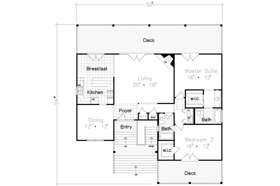 Beach Bungalow 3928 2 Bedrooms And 2 5 Baths The House Designers Beach House Floor Plans Beach House Flooring Cottage Floor Plans