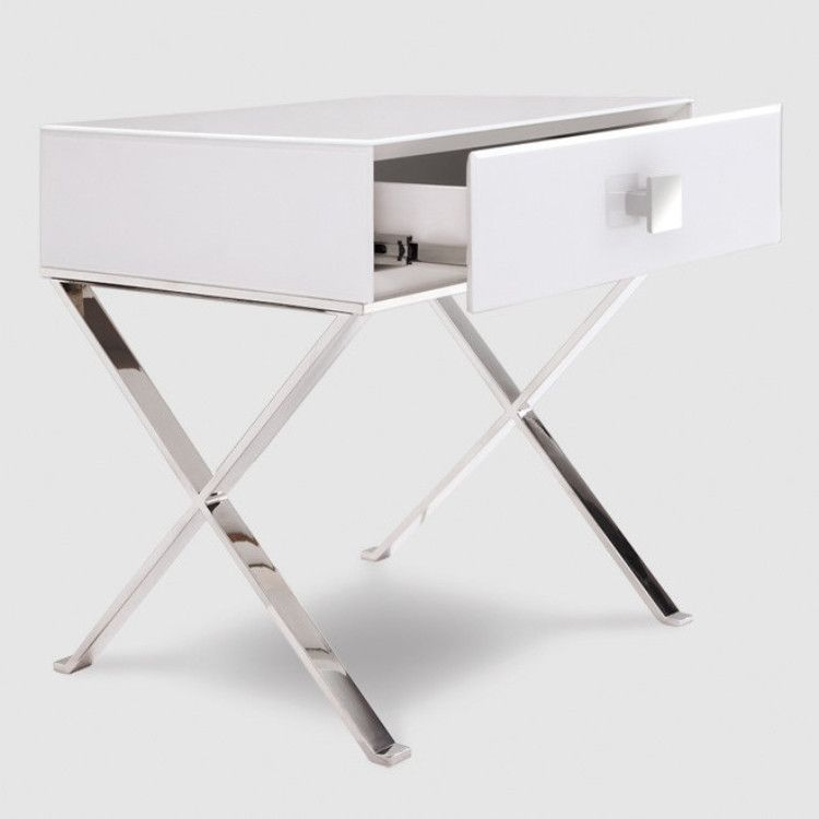 Zurich White Glass & Chrome Bedside Table
