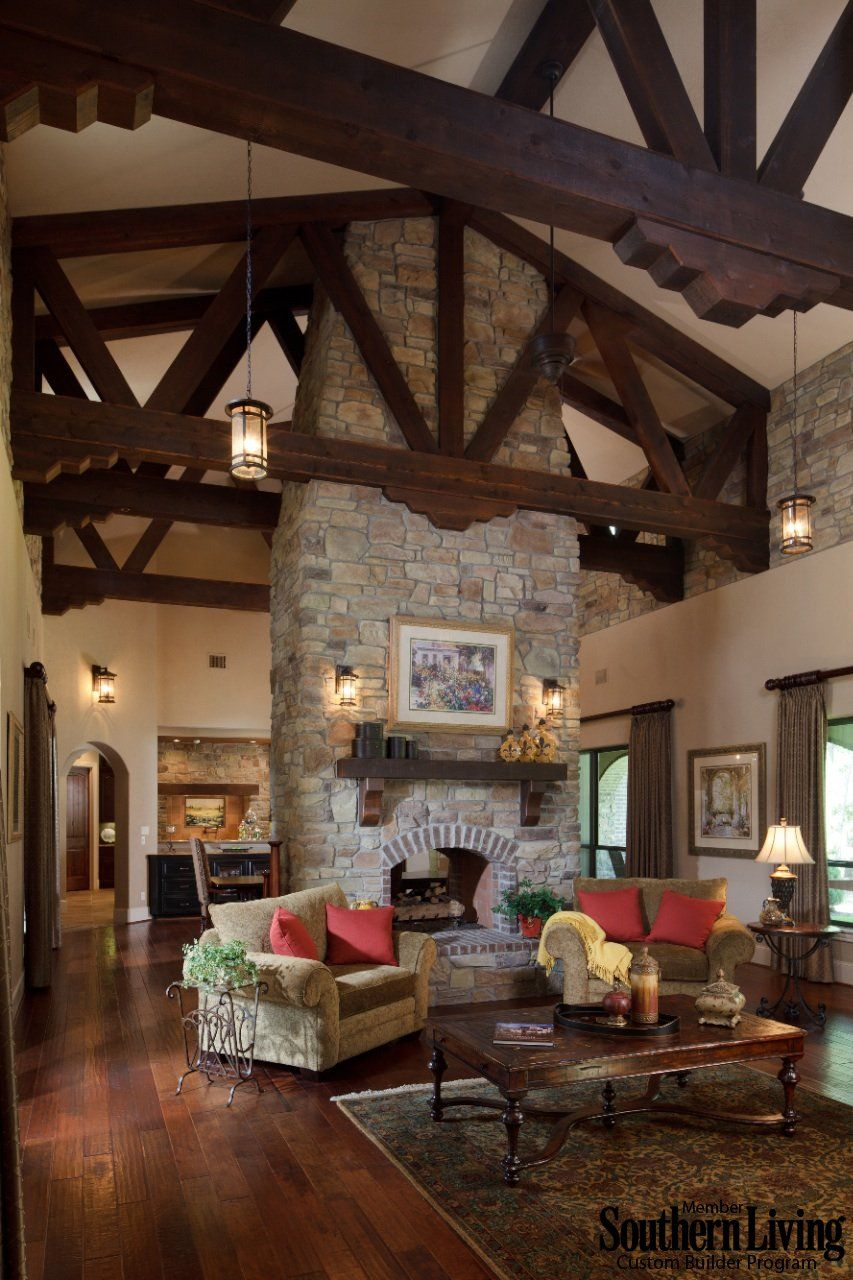 Grand Fireplace W Vaulted Ceilings Beams Open Floor: What An Amazing Design And Open Floor Plan!