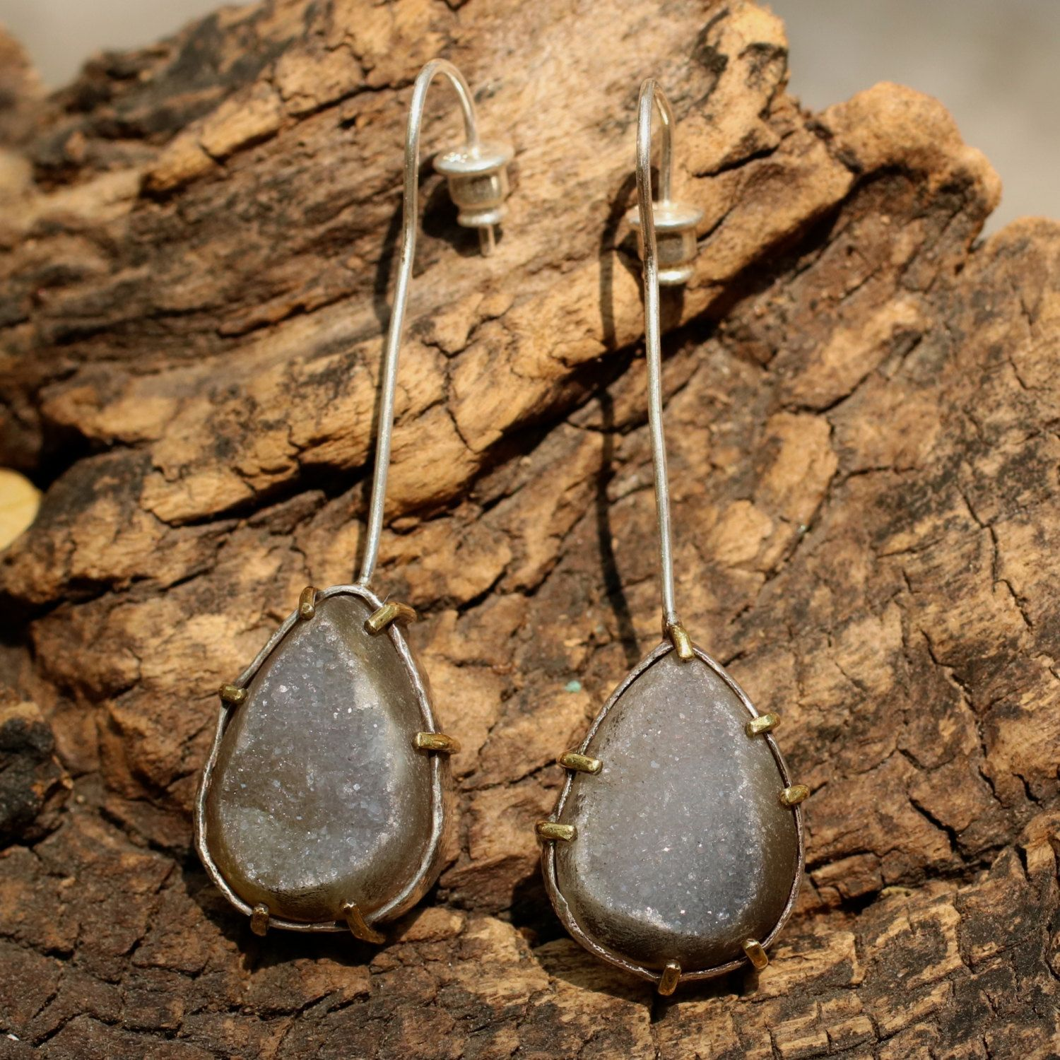 Druzy teardrop earrings in silver setting with long silver hook and posts