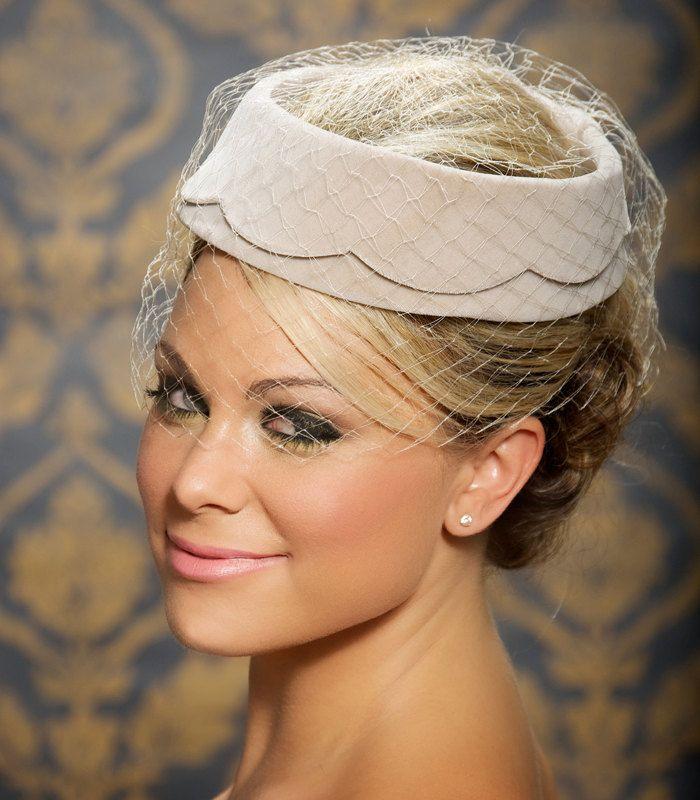 Champagne Beige Grey Wedding Hat Bridal Head Piece Tail Scalloped Pillbox Birdcage Veil Vintage