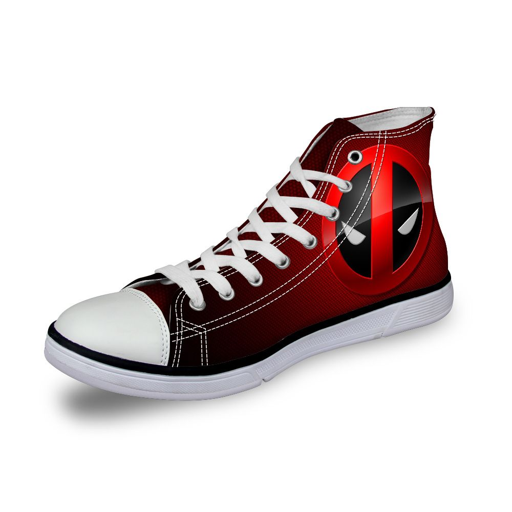 2017 Designer Women Casual Shoes High Top Superheros Deadpool Print Canvas Shoes,Designer Female Lady Flat Sport Walking Shoes
