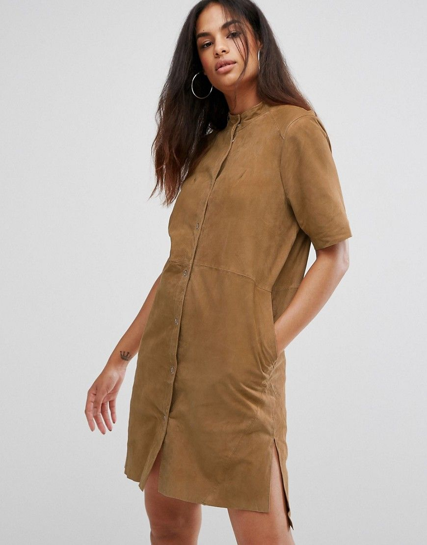 Selected polin suede shirt dress brown products pinterest