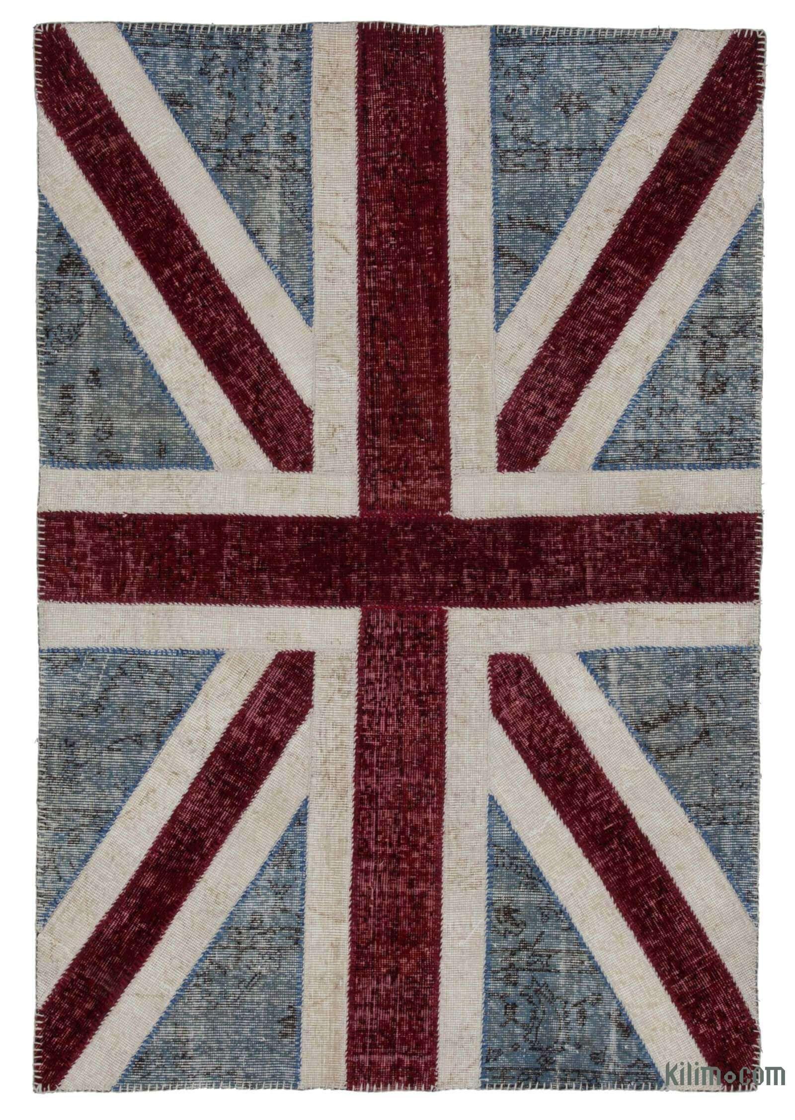 Blue Red Patchwork British Flag Rug