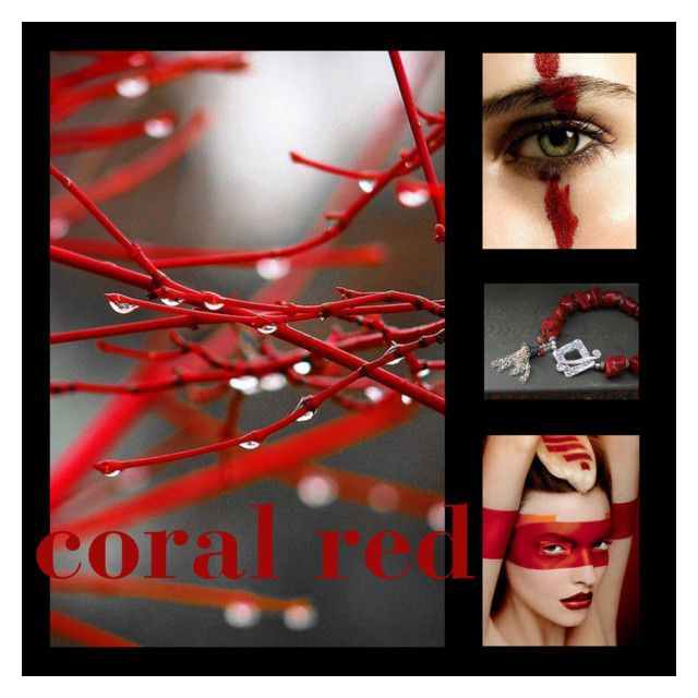 """~ coral red ~"" by voncliecx ❤ liked on Polyvore featuring art, colors, artset, artexpression, voncliecxclusives and voncliecx"