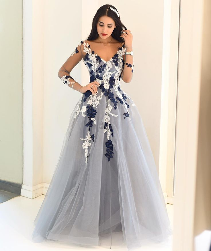 Junior Blue Ball Gown V-Neck Long Sleeves Appliques Prom Dresses ...