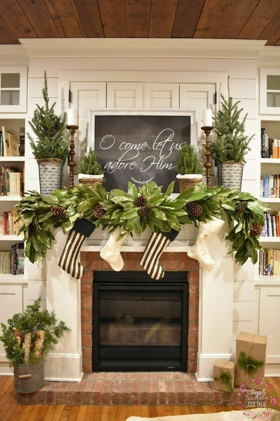 Loving the Magnolia garland with the acorns this creates a very natural and clean look #magnoliachristmasdecor