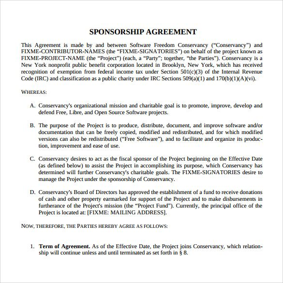 Contract Templates For Word 10 Sponsorship Agreement Templates  Word Excel & Pdf Templates .