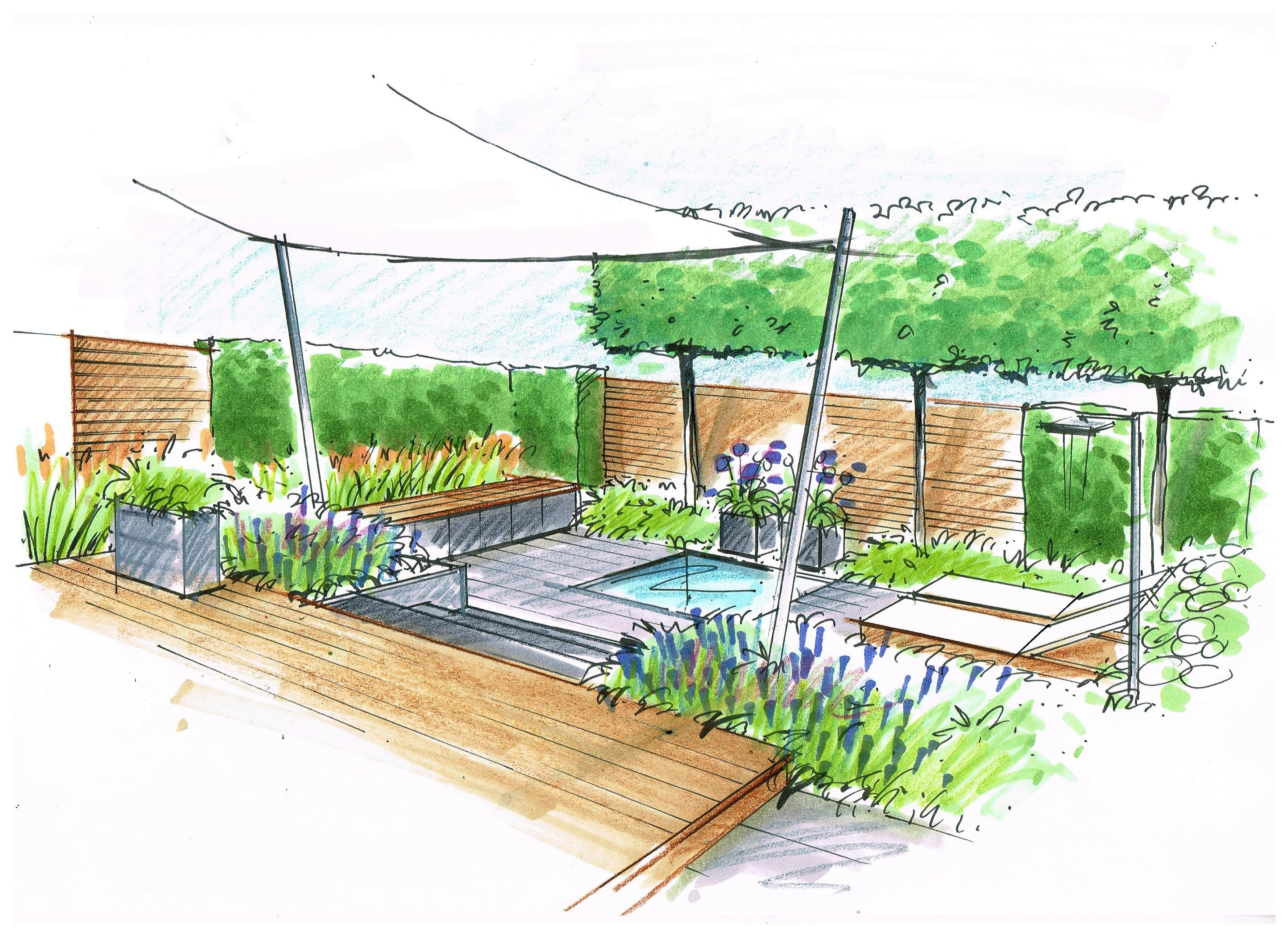 Perspektive Hausgarten Wasserbecken Spalierbaum Anne Munstermann Garten Gartengestaltung Garten Planen